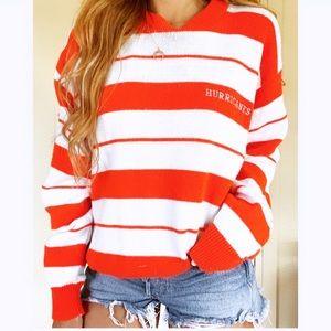 Vintage Miami Hurricanes UM Orange Striped Sweater